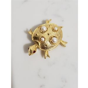 Vintage Goldtone Faux Pearl Turtle Brooch